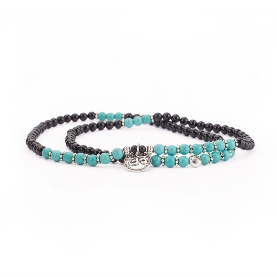 bracelet mala long turquoise agate noir