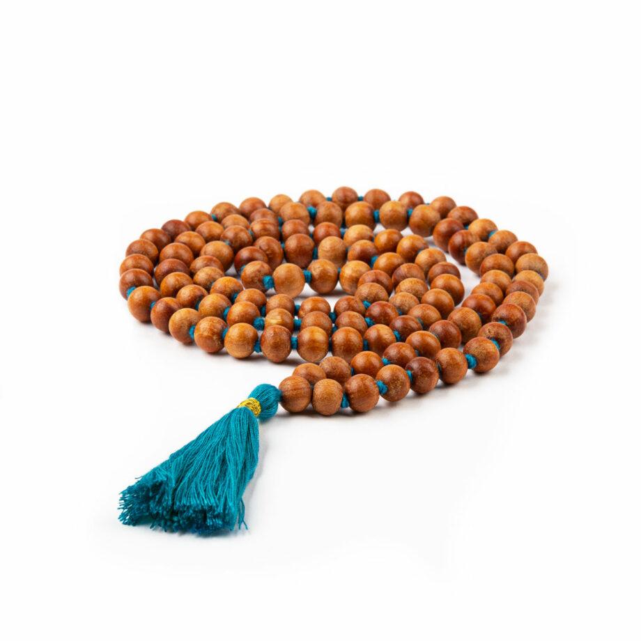 collier mala parfum bois de santal pompon turquoise