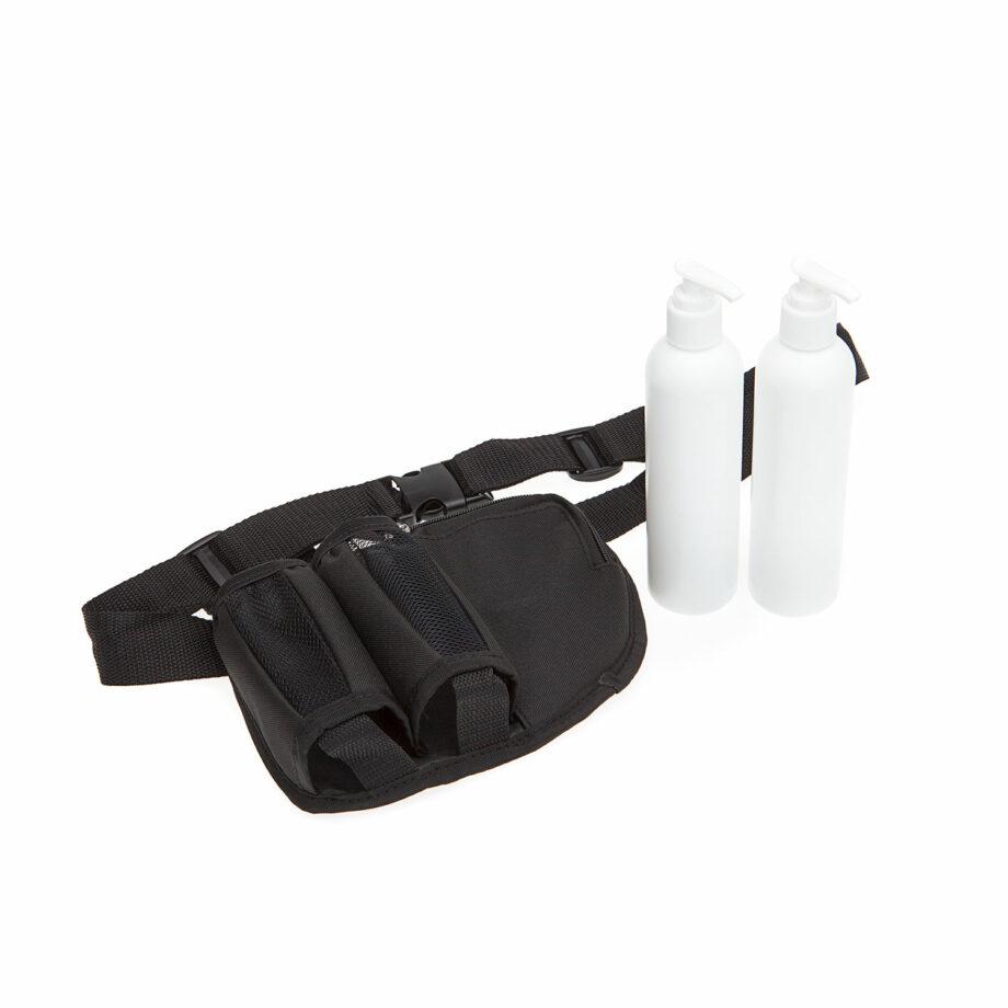 double holster avec bouteille a pompe pour massage