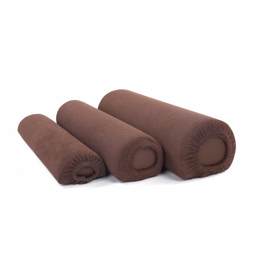housse tissu eponge chocolat pour coussin cylindrique