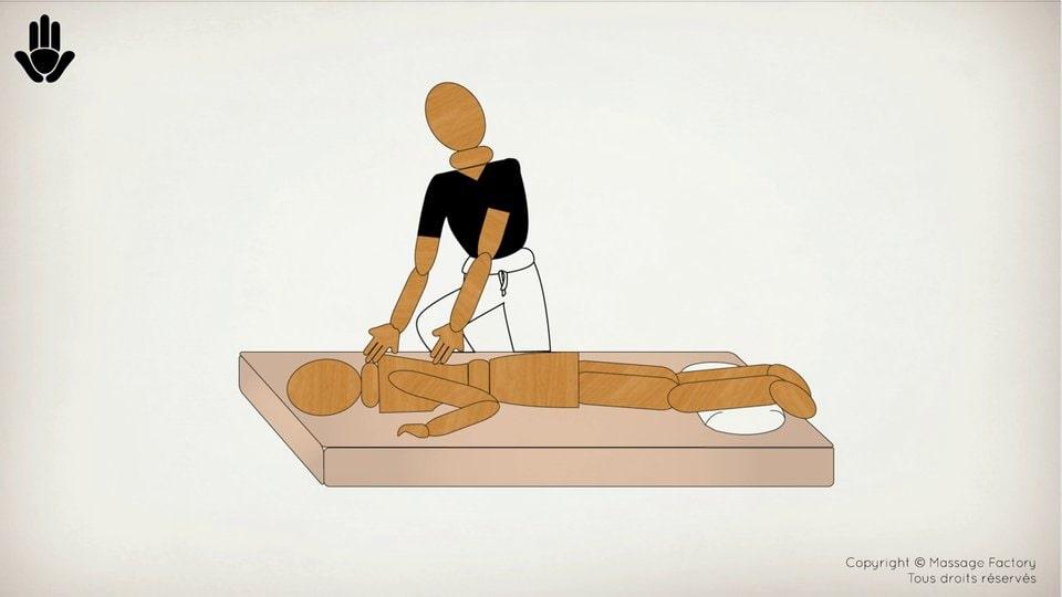 position shiatsu sur une table de massage