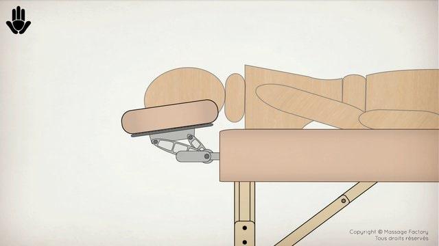 regler la tetiere d'une table de massage