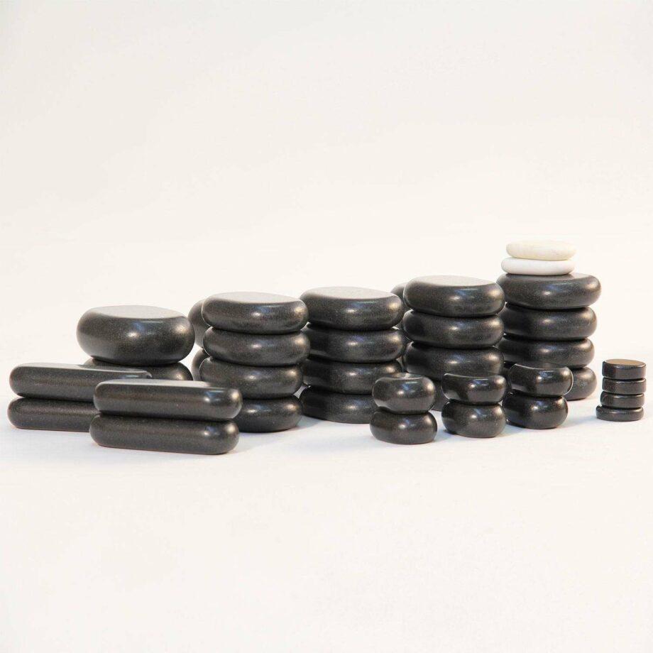 set de 40 pierres chaudes en basalte coffret