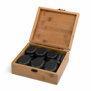 set de 18 pierres chaudes avec coffret en bois
