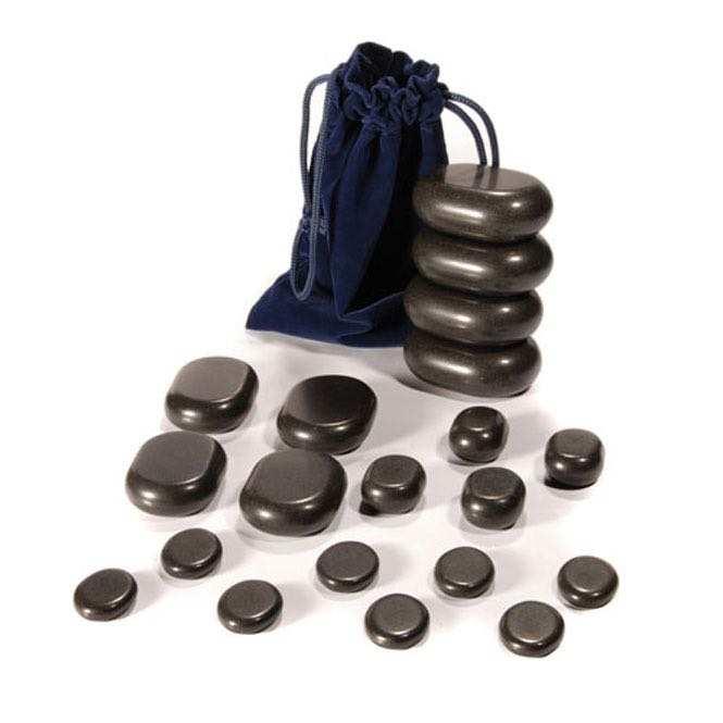 set de 20 pierres chaudes en basalte