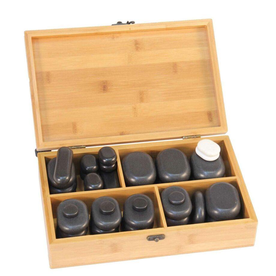 set de 40 pierres chaudes en basalte coffret en bois