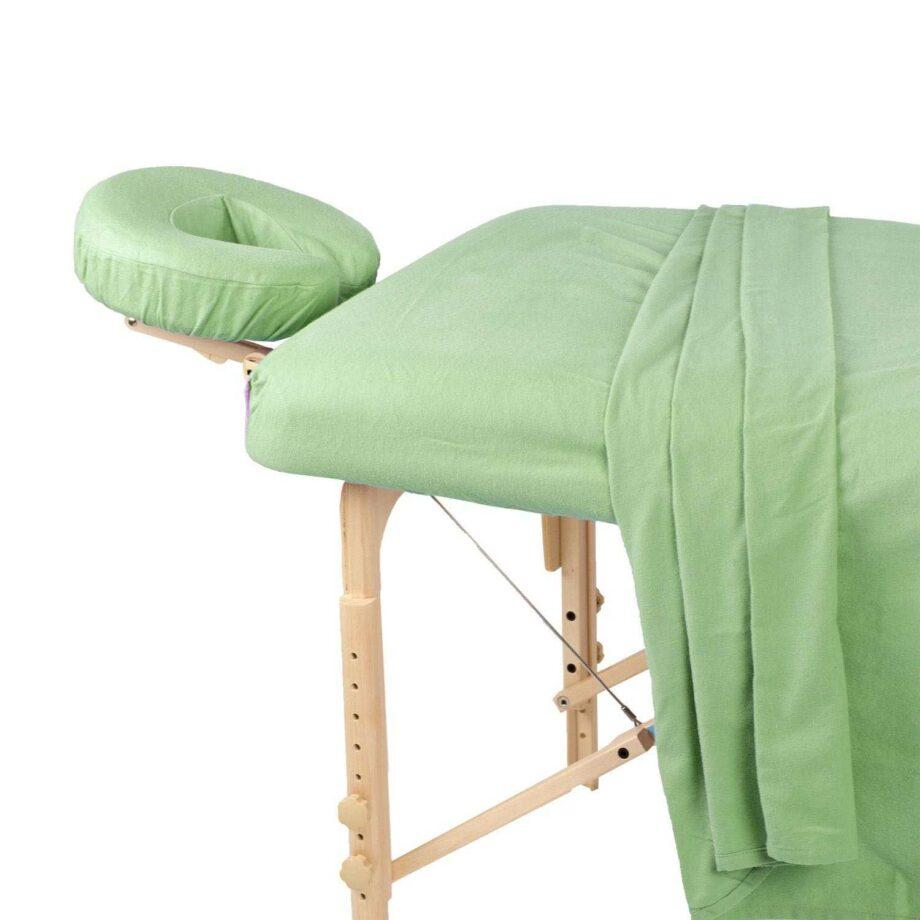 set de drap en coton flanelle vert