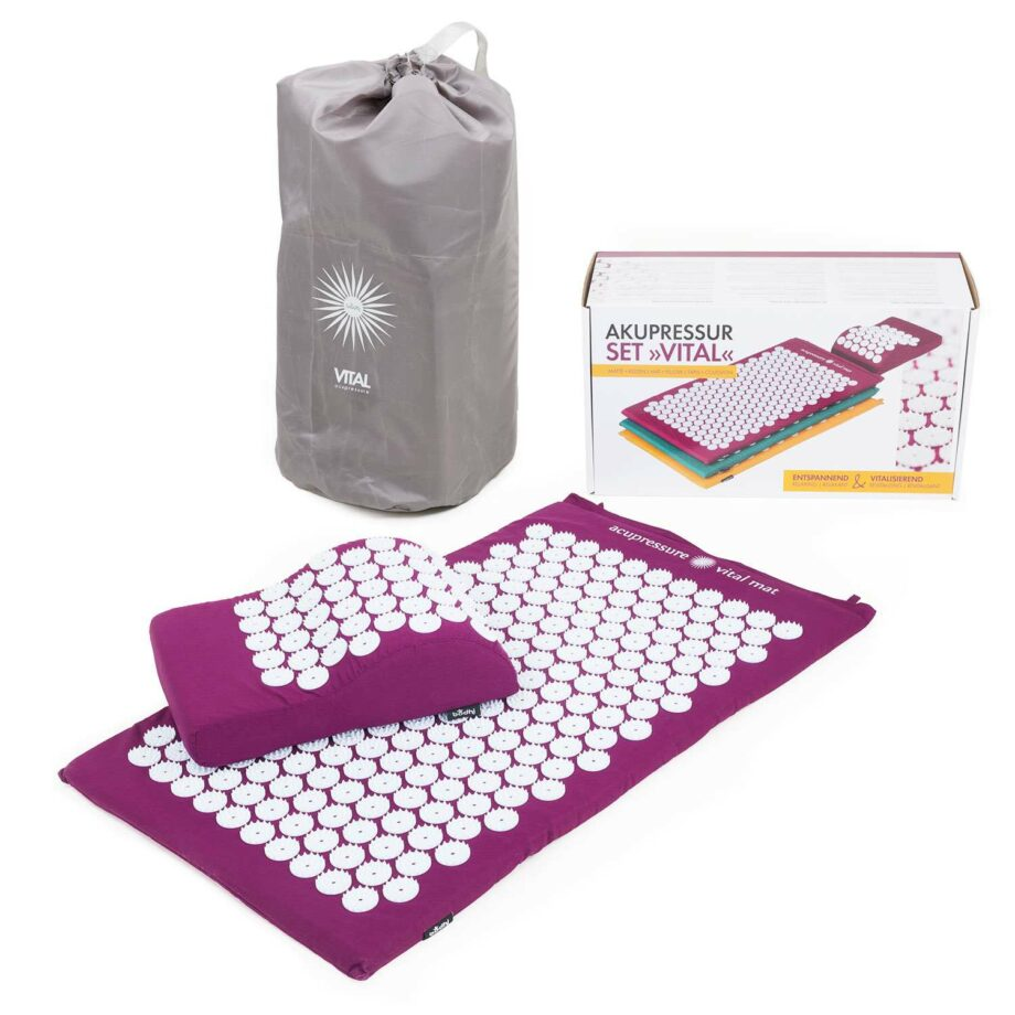 set de tapis acupression aubergine