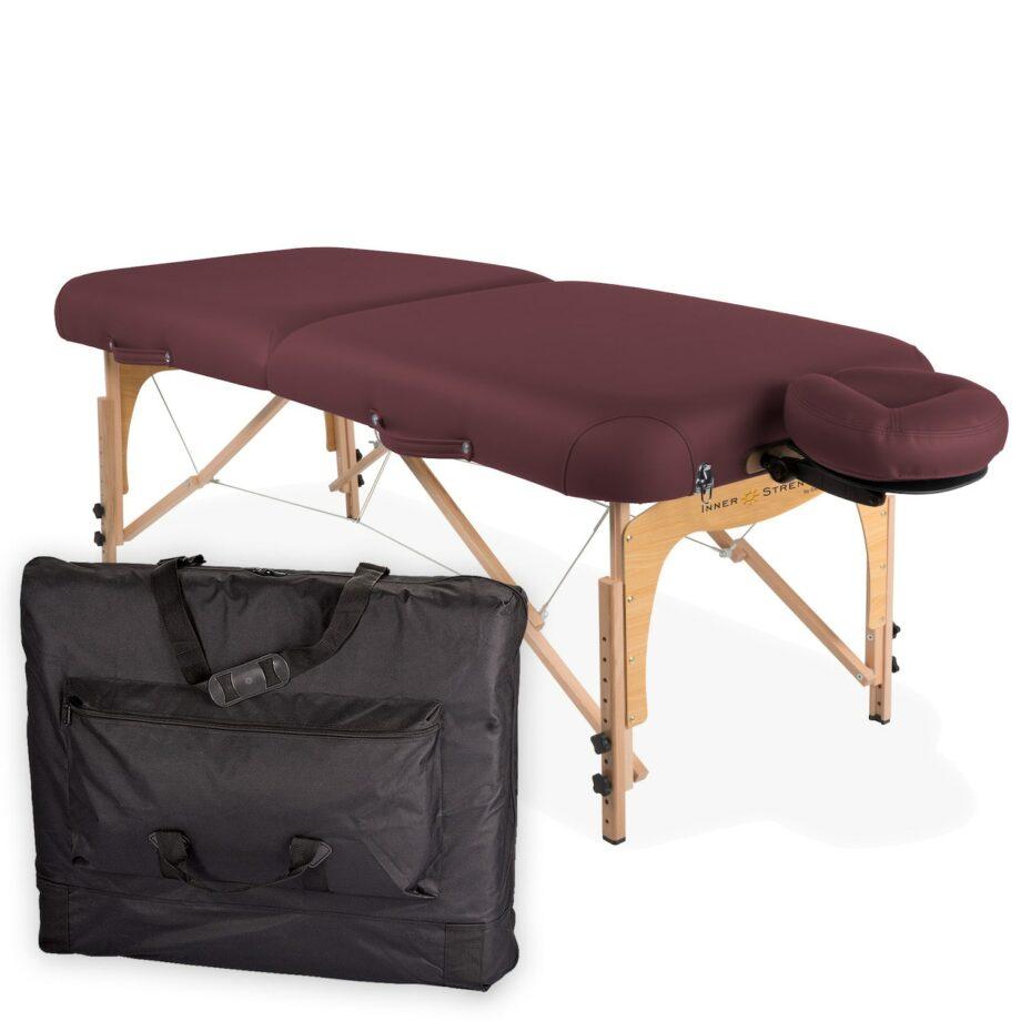 table de massage pliante E2 bordeaux avec housse de transport