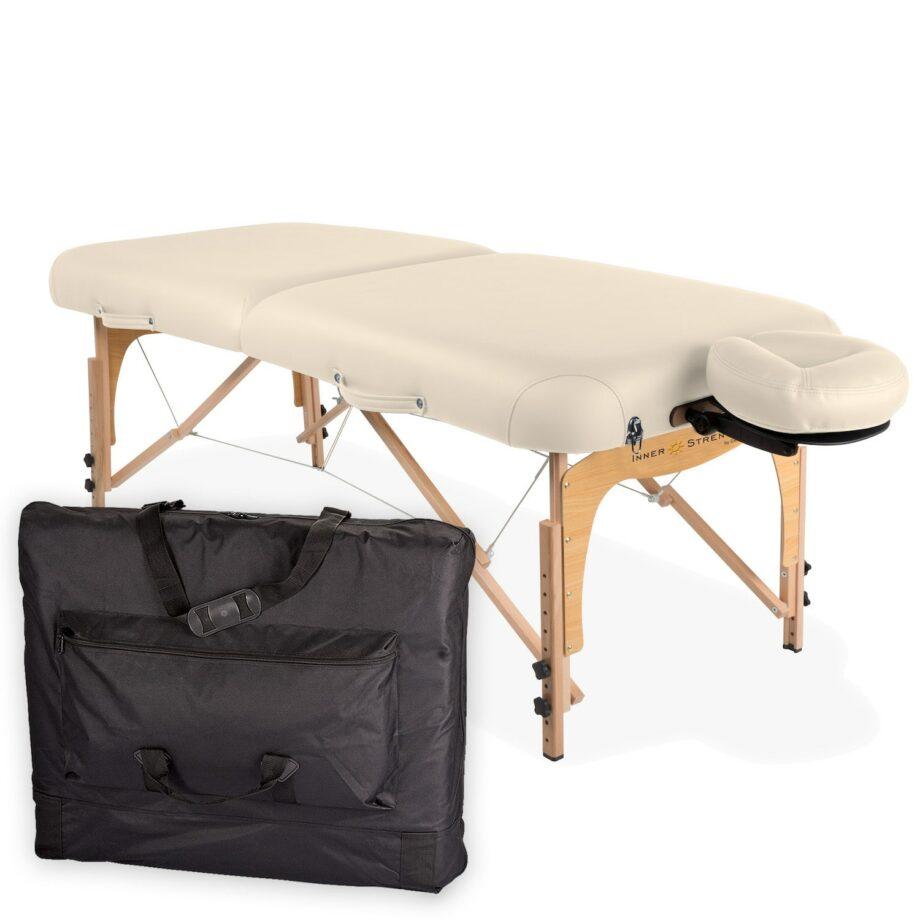 table de massage pliante E2 creme avec housse de transport