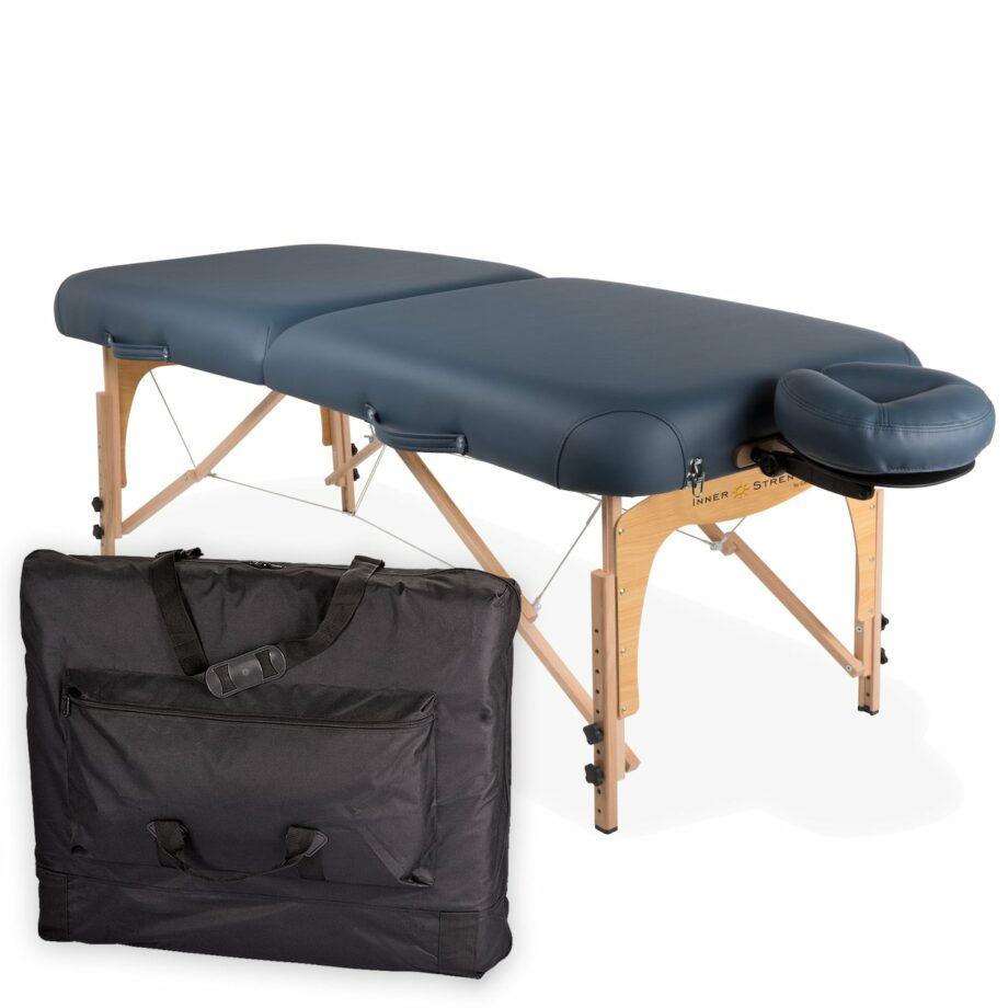 table de massage pliante E2 mystic blue avec housse de transport