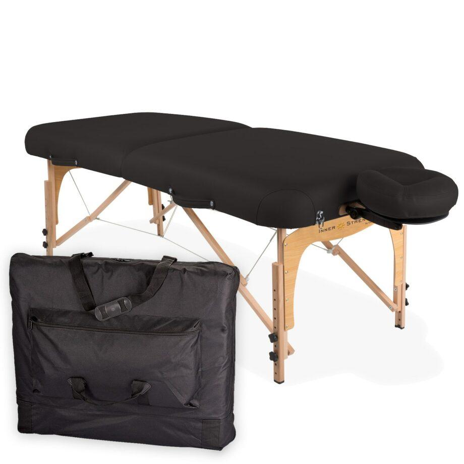 table de massage pliante E2 noir avec housse de transport