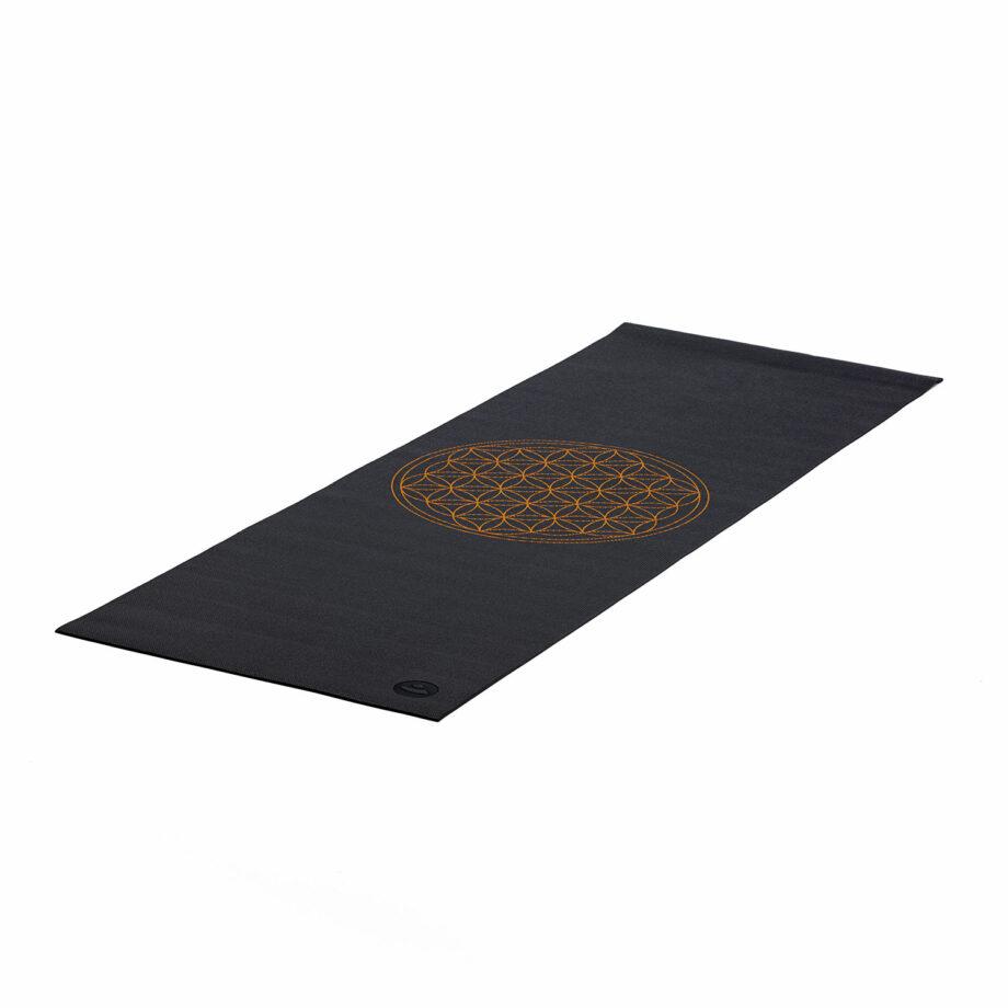 tapis de yoga fleur de vie anthracite