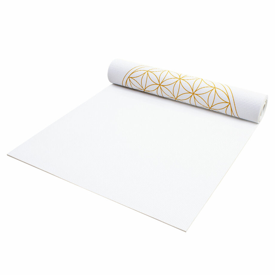 tapis de yoga fleur de vie blanc