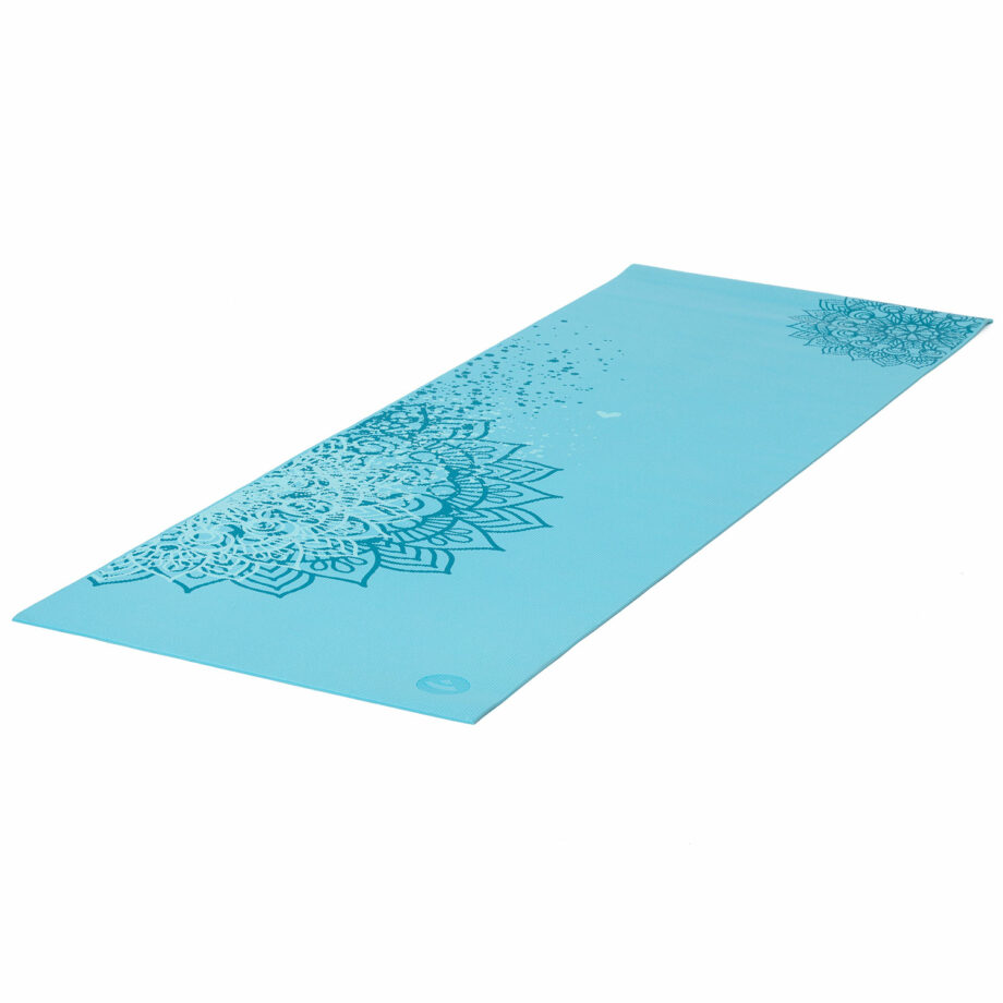 tapis de yoga mandala bicolore turquoise