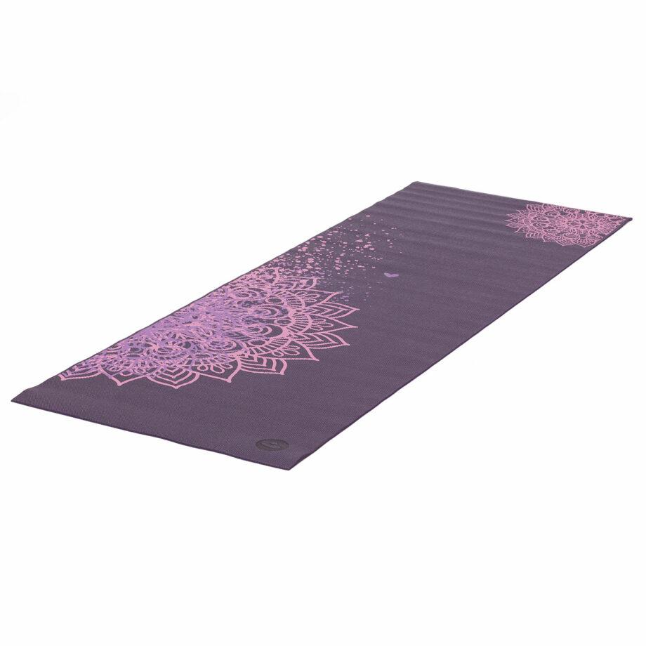 tapis de yoga mandala bicolore aubergine